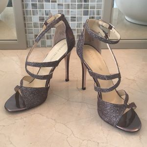 Ivanka Trump Bronze textile upper glitter Heels